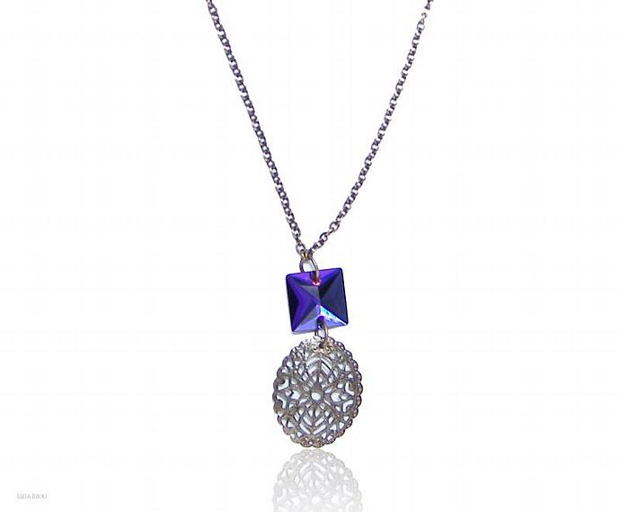 Purple Volcano Necklace Swarovski Crystal Brass Chain