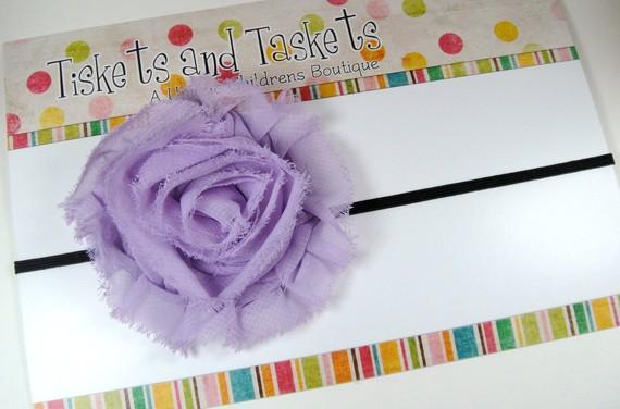 NEW Pretty Avery Lavendar Shabby Chic Chiffon Flower Rosette on Super Skinny