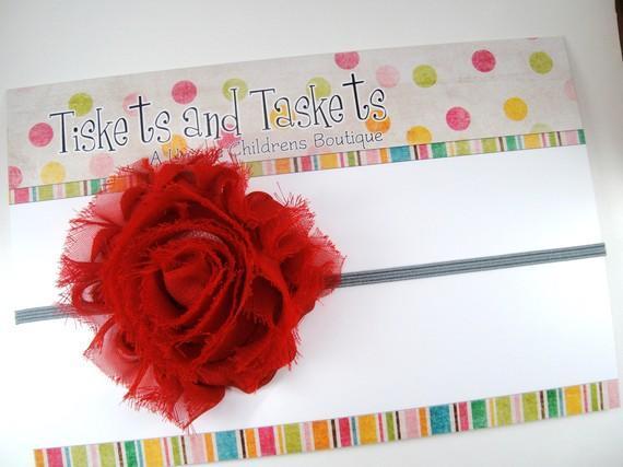 Red Shabby Kiley Chic Chiffon Flower Rosette on Skinny Stretch Headband -