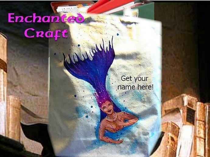 diving MERMAID tote, bag, or shopping bag- hand painted