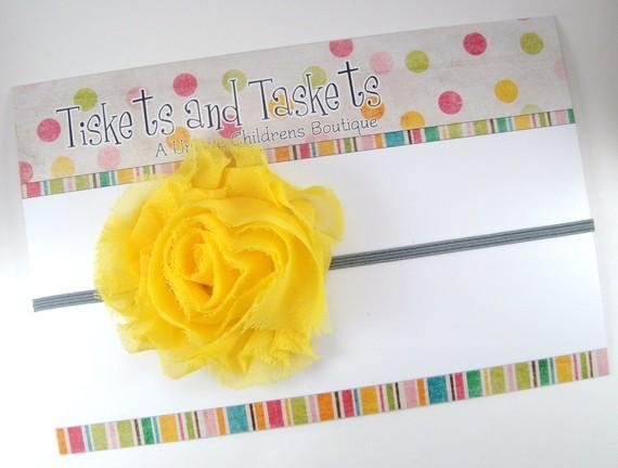 Sunkissed Yellow Pretty Shabby Chic Chiffon Flower Rosette on gray Skinny