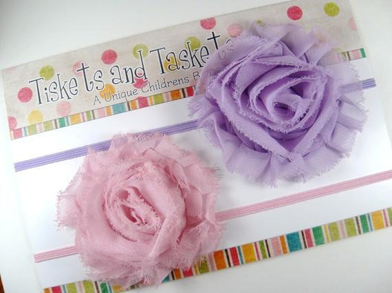New to Shop.. Pretty Avery Lavender and Prissy Pink Shabby Chic Chiffon Flower