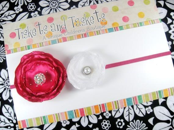 Hot Pink Satin Sparkle Bling and White Organza Ranunculus Flowers with Crystal