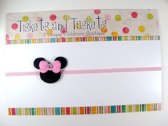 Pink Minnie Mouse w/ Swarovski crystal Hair bow on Super Skinny Stretch Headband