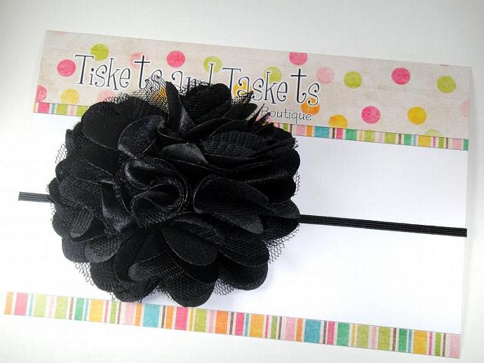 Black Classy Chic Satin n Tulle Puff Flower on Skinny Stretch Headband - Newborn
