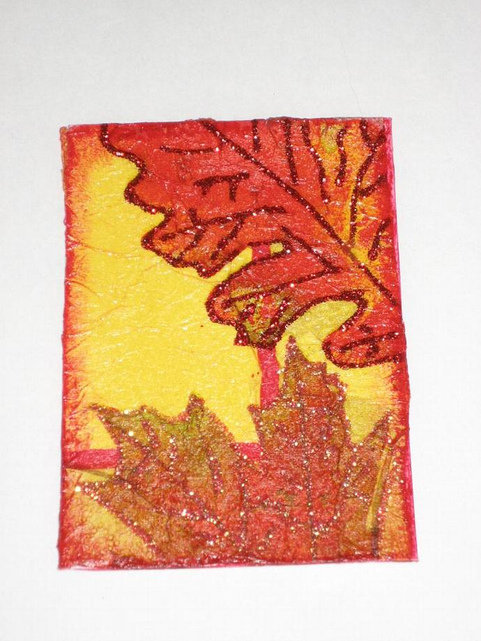 Fall Autumn leaves collage Original aceo
