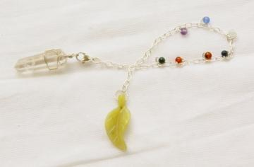 Quartz Pendulum with Chakra Gems and New Jade Leaf Fob on Silver-color Chain