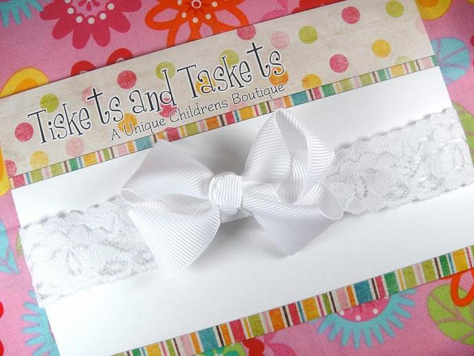Small Dainty White Twisted Boutique Hair bow on Lace Stretch Headband - Newborn