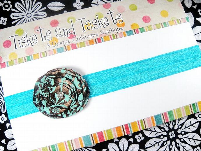 Pretty Fall Brown w/ Turquoise Blue Satin Fabric Flower Rosette on super Soft