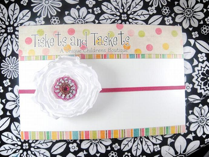 NEW... Pretty Hot Pink Fushcia / White Satin Flower Rosette on Skinny