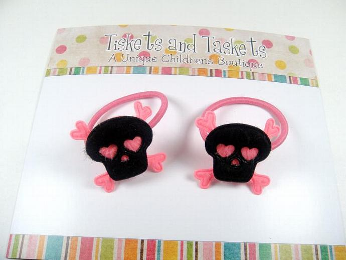 Set of Pink and Black SKULL Crossbone Pony Tail O's Boutique Custom Hairbow