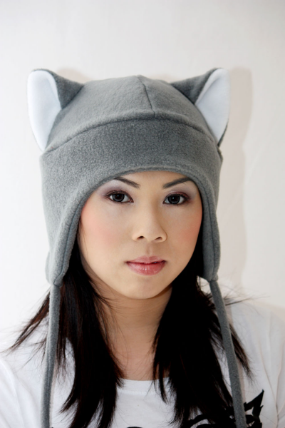 GREY / WHITE KITTY CAT AVIATOR ear flap fleece ski