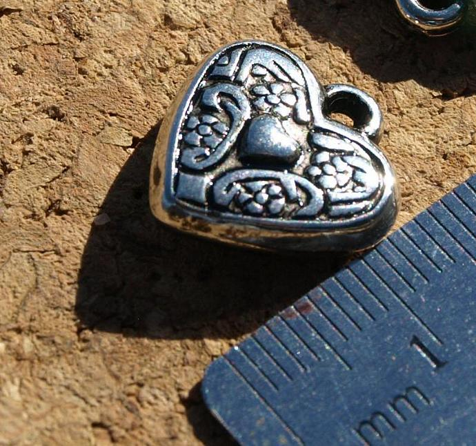 Metalized Plastic Heart Beads or Charms 11-028