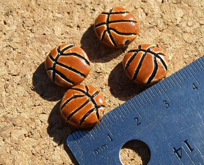 Basketball Ceramic Beads (11-0085)