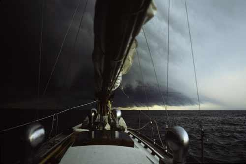 A Classic Sailboat on Lake Erie with a Storm off the Bow Fine Art Photo
