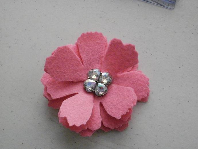 Blinged Wool Felt Flower Clippie