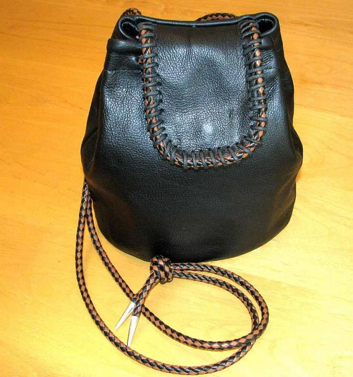 Black Leather Drawstring Tote With Black-Brown Braid