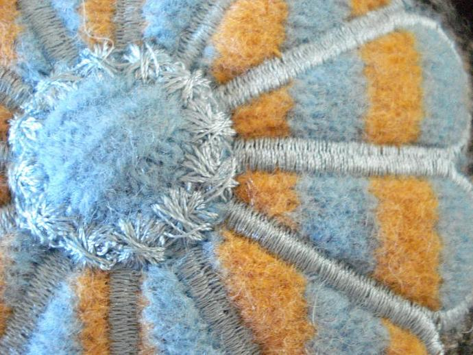 Pincushion - Embroidered Wool Blue, Orange