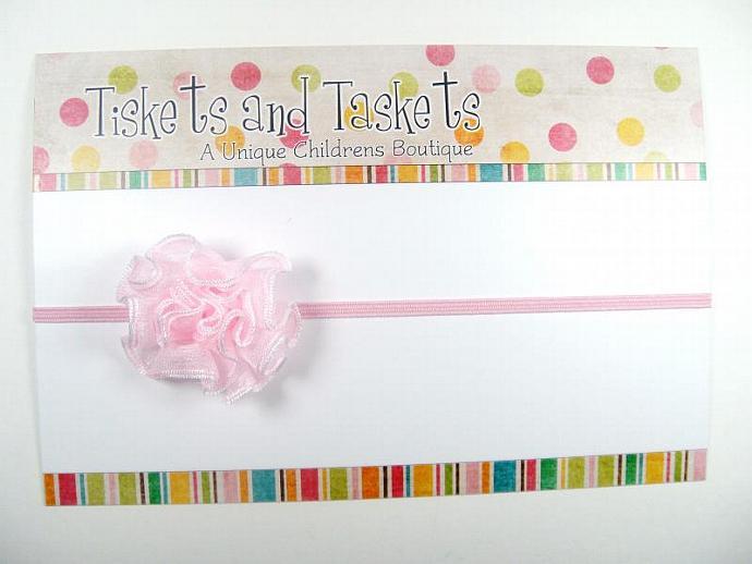 Petite and Dainty Maddison Organza Victorian Pink Flower on Skinny Headband -