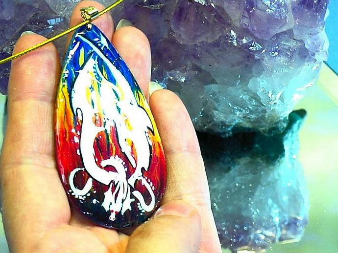 hand painted Fire drake wood pendant with gold bail, golden steel neckwire