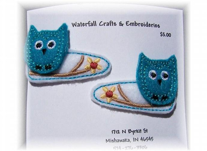 Turquoise Felt Owls Handcrafted  Barrettes