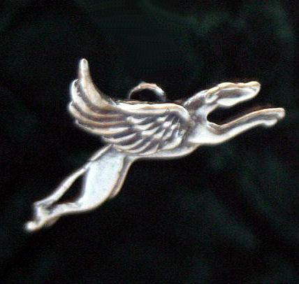 Sterling silver Skyhound winged greyhound dangle earrings
