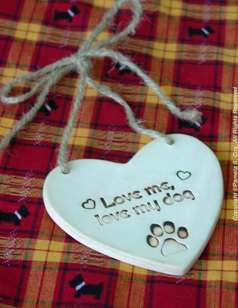Love My Dog Heart Stoneware Sign Plaque