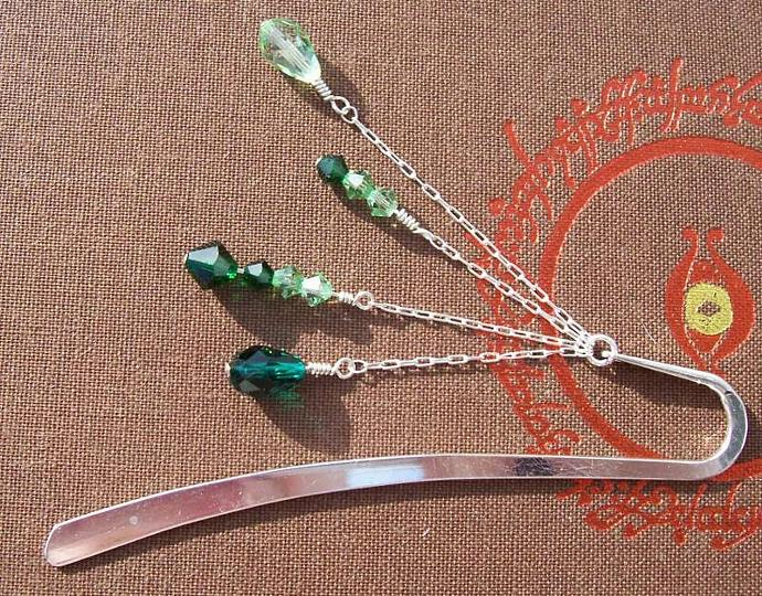 Swarovski Crystal Bookmark - Gradient Greens
