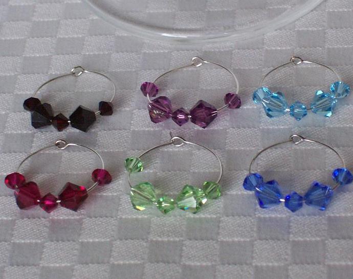 Your Choice - Custom Set of 6 Swarovski Crystal Stemware Charms