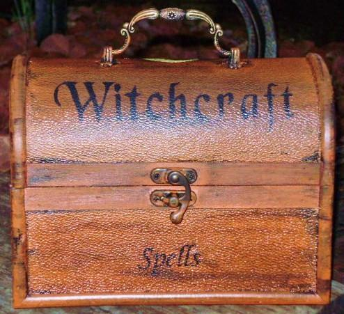 Witches Spells Chest purses purse box Magic Wicca Black Cats Primitive Witch Box