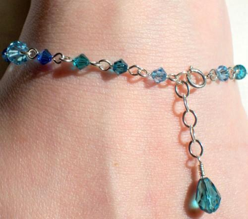 Swarovski Crystal and Sterling Silver Bracelet - Ocean Blue