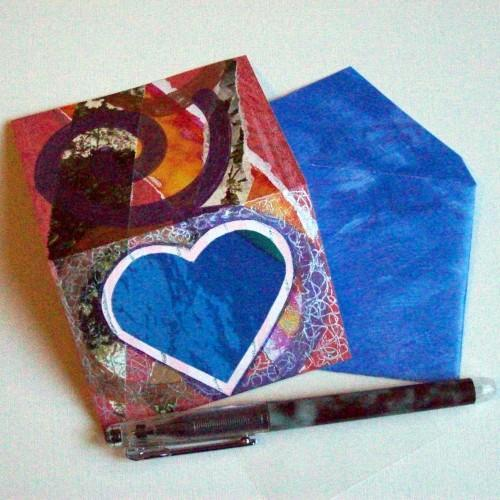 ACEO Gift Card with envelope - Blue Heart