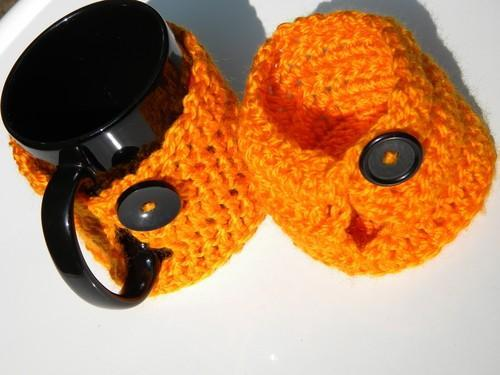 Fall Orange Mug Cozy with Vintage Black Buttons Set of 2
