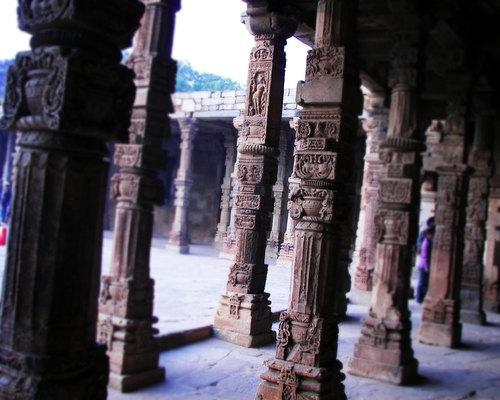 Pillars at the Qutub Minar in Delhi, India