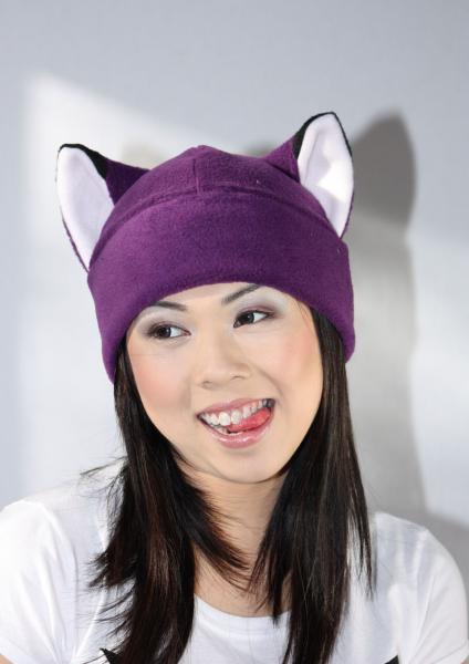 PURPLE FOX fleece hat cosplay anime ski snowboard