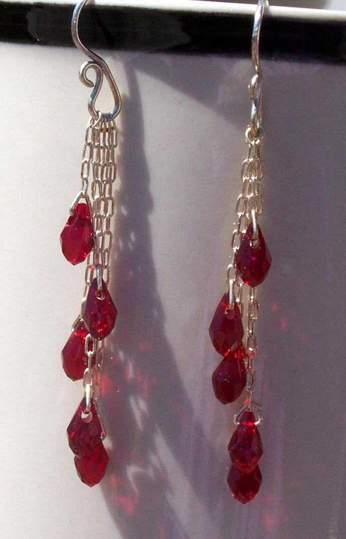 Swarovski Crystal Earrings - Red Drop Cascade