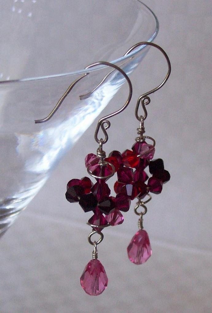 Raspberry Swirl Dizzy Drop Earrings