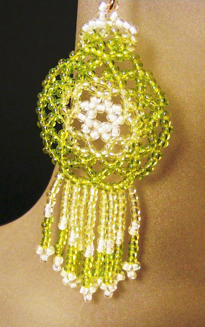 Green Transparent Mandala Shield Earrings