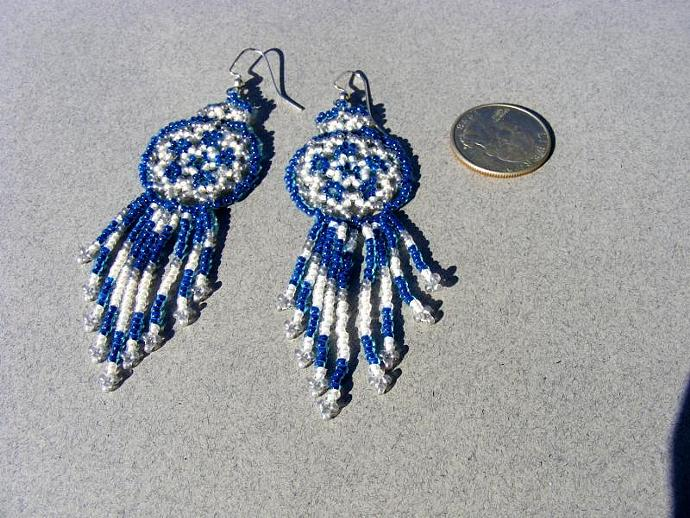 Blue Ice Bead Weave Mandala Shield Earrings