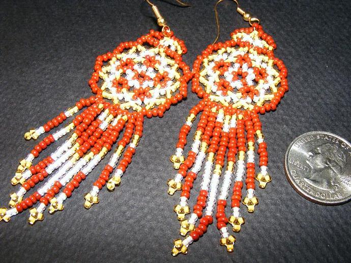 Caramel Sunshine Bead Weave Mandala Shield Earrings