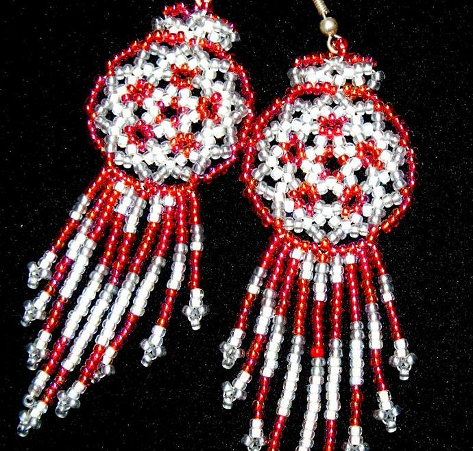 Red Ice Bead Weave Mandala Shield Earrings