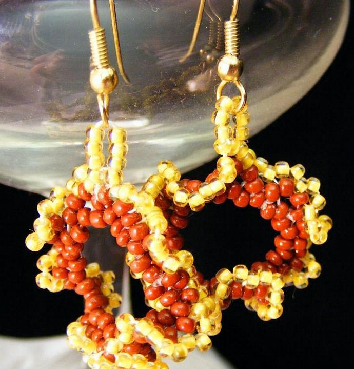 Ruffled Sunflower Peyote Stitch Earring