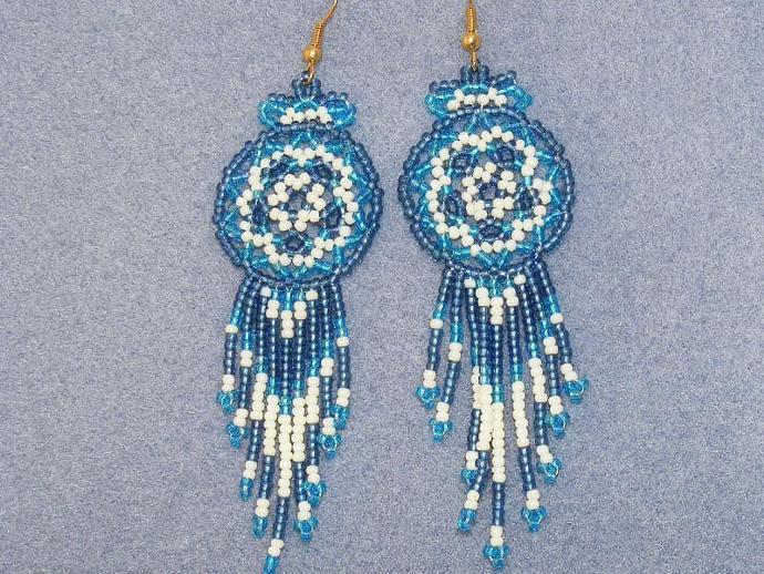 Blue on Blue Bead Weave Mandala Shield Earrings