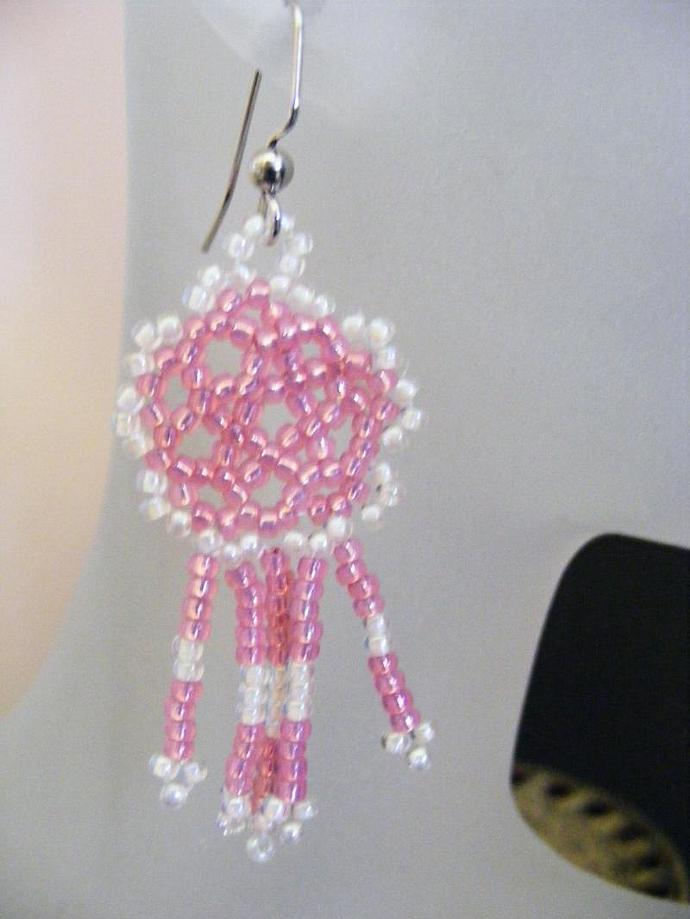Frosted Pink Mandala Shield Earrings