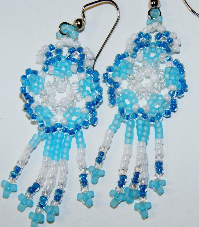 Pale Sea Foam Blue Mandala Shield Earrings