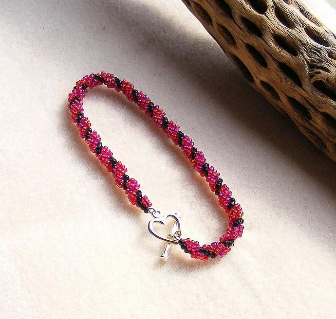 Ruby Red AB and Black Spiral Weave Braclet with Sterling Silver Toggle