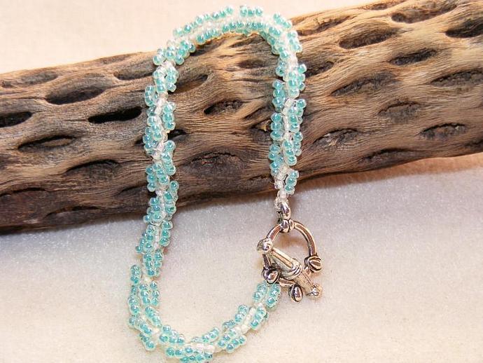 Seafoam Green and Ivory Spiral Weave Bracelet
