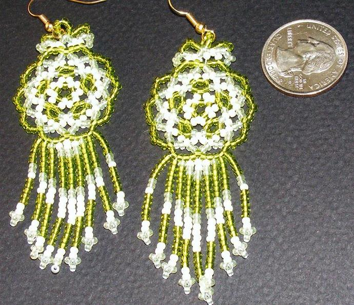 Cool Lime Bead Weave Mandala Shield Earrings