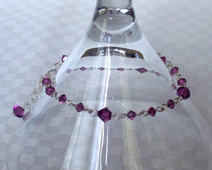 Amethyst Swarovski Crystal - Silver Plated Bracelet