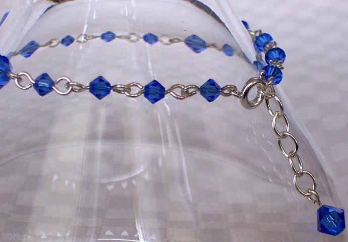 Sapphire Swarovski Crystal - Silver Plated Bracelet